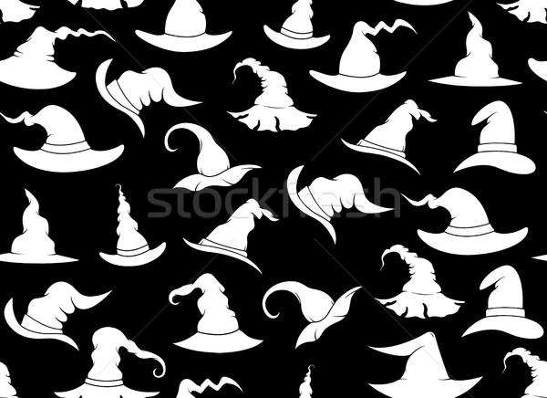 Végtelenített boszorkány sapkák fekete háttér sziluett Stock fotó © DeCe