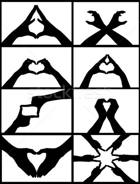 Kéz kollázs feliratok izolált fehér szív Stock fotó © DeCe