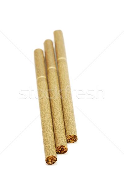 Cigaretta barna izolált fehér füst vegyi Stock fotó © DeCe