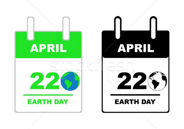 Föld napja naptár izolált fehér tavasz földgömb Stock fotó © DeCe