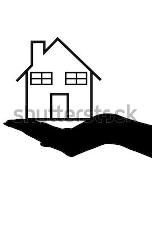 Ház kéz sziluett tart izolált fehér Stock fotó © DeCe