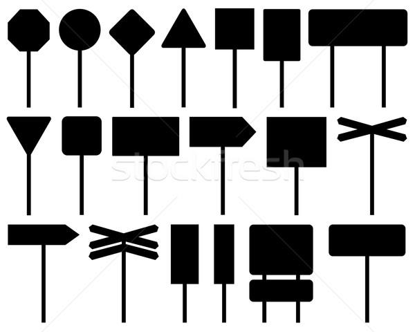Conjunto diferente sinais de trânsito isolado branco rua Foto stock © DeCe