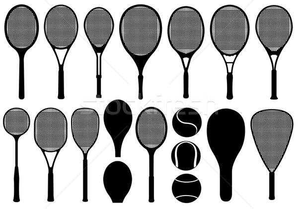Szett különböző tenisz izolált fehér labda Stock fotó © DeCe