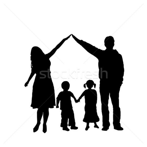 Сток-фото: семьи · силуэта · изолированный · белый · девушки