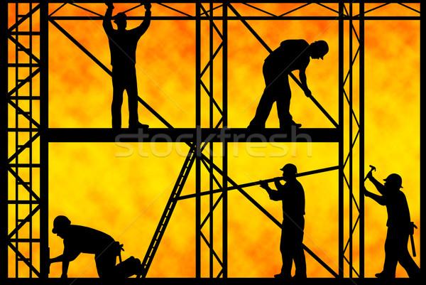 építkezés munkások narancs gradiens férfiak ipari Stock fotó © DeCe