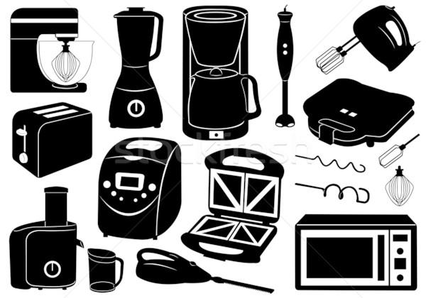 Ayarlamak mutfak aletleri yalıtılmış beyaz gıda makine Stok fotoğraf © DeCe