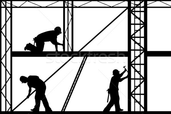 építkezés munkások izolált fehér férfiak ipar Stock fotó © DeCe