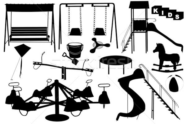 Speeltuin illustratie verschillend objecten kinderen ruimte Stockfoto © DeCe