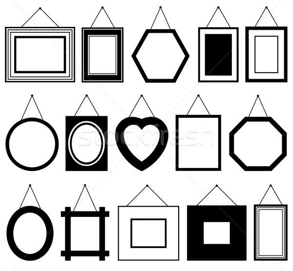 ストックフォト: セット · 異なる · 画像 · フレーム · 孤立した · 白