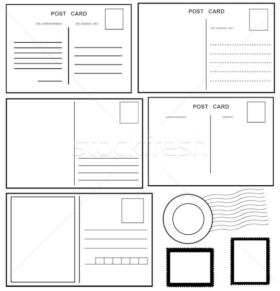 Képeslapok szett izolált fehér papír posta Stock fotó © DeCe