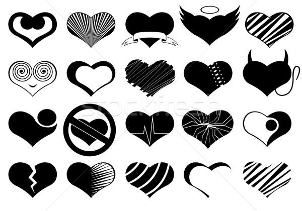 Szett különböző szívek izolált fehér szív Stock fotó © DeCe