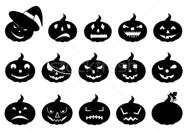 Halloween tökök izolált fehér csoport fekete Stock fotó © DeCe