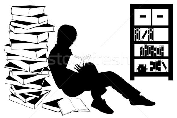 Sziluett lány olvas könyv izolált fehér Stock fotó © DeCe