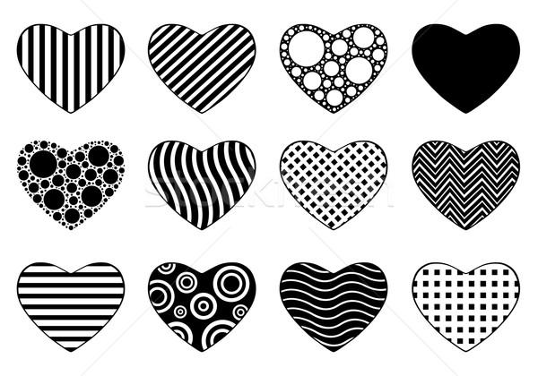 Szett különböző szívek izolált fehér szeretet Stock fotó © DeCe