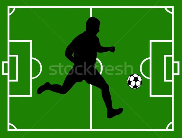Labdarúgó sziluett mező fű futball futball Stock fotó © DeCe