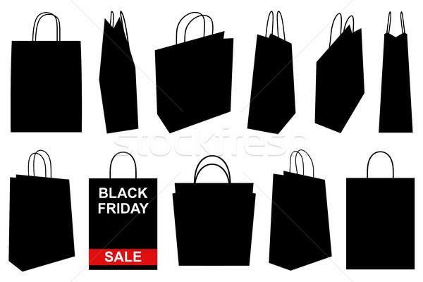 Szett különböző bevásárlótáskák izolált fehér vásárlás Stock fotó © DeCe