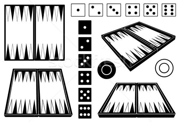 セット 異なる 孤立した 白 黒 シルエット ストックフォト © DeCe