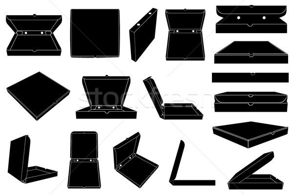 Conjunto diferente pizza caixas isolado branco Foto stock © DeCe