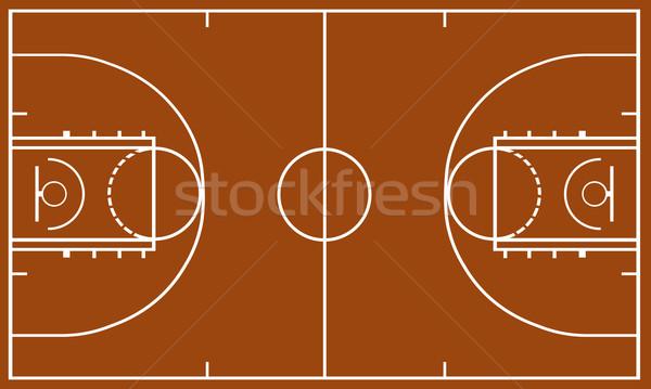 Kosárlabda mező barna sport labda fehér Stock fotó © DeCe