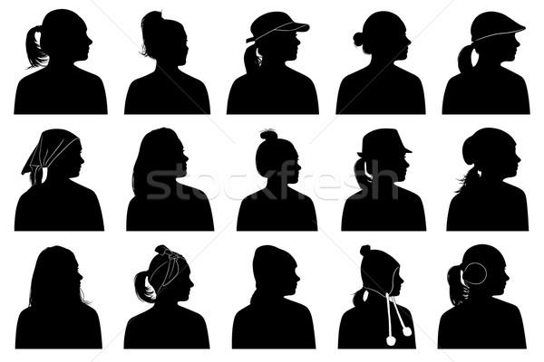 Ilustración mujeres retratos aislado blanco mujer Foto stock © DeCe
