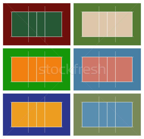 Foto stock: Ilustração · diferente · voleibol · tribunal · isolado · branco