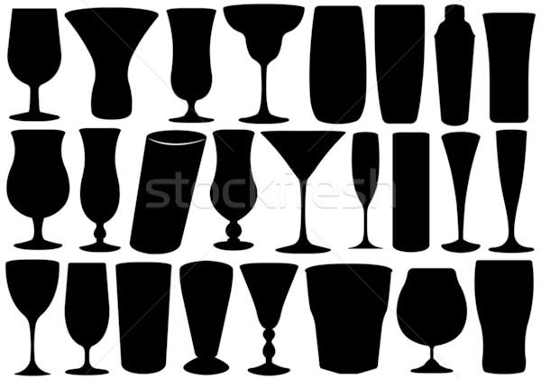 Stock fotó: Szett · szemüveg · izolált · fehér · üveg · csoport