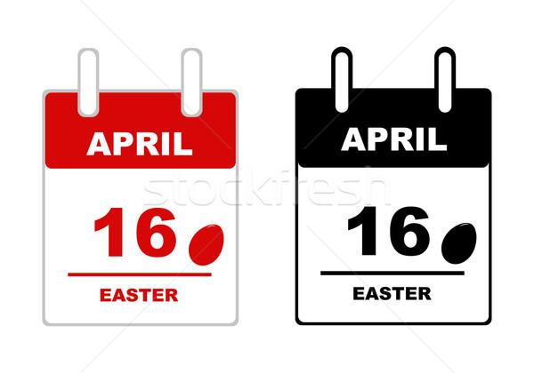 Páscoa calendário isolado branco ovo vermelho Foto stock © DeCe