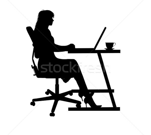 女性 ノートパソコン シルエット 入力 表 椅子 ストックフォト © DeCe