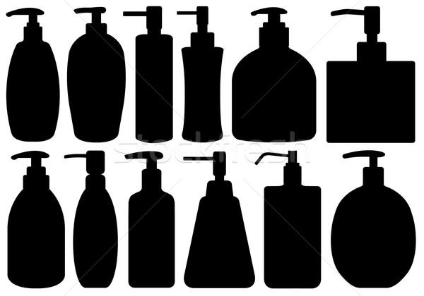 Establecer diferente líquido aislado blanco mano Foto stock © DeCe
