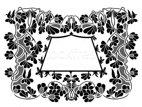 Virágmintás keret izolált fehér terv levél Stock fotó © DeCe