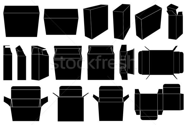 Dobozok szett izolált fehér terv fekete Stock fotó © DeCe