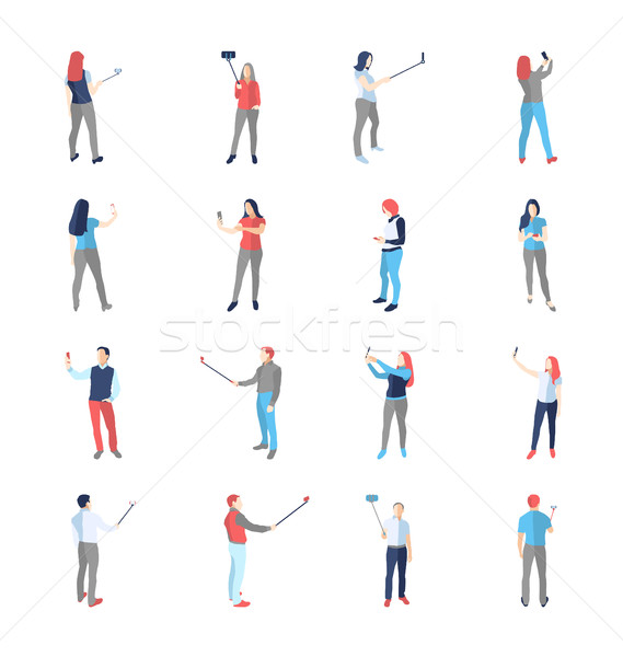 People, male, female, in shooting selfy pictures poses Stock photo © Decorwithme