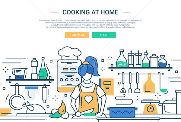 Girl cooking at home - line design website banner Stock photo © Decorwithme