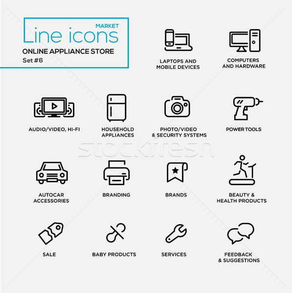Online appliance store line design pictograms set Stock photo © Decorwithme