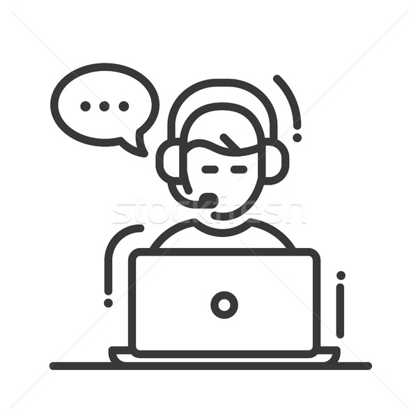 Tech support single icon Stock photo © Decorwithme