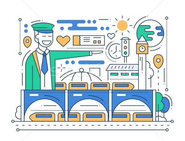 Treinstation lijn ontwerp vector moderne stad Stockfoto © Decorwithme