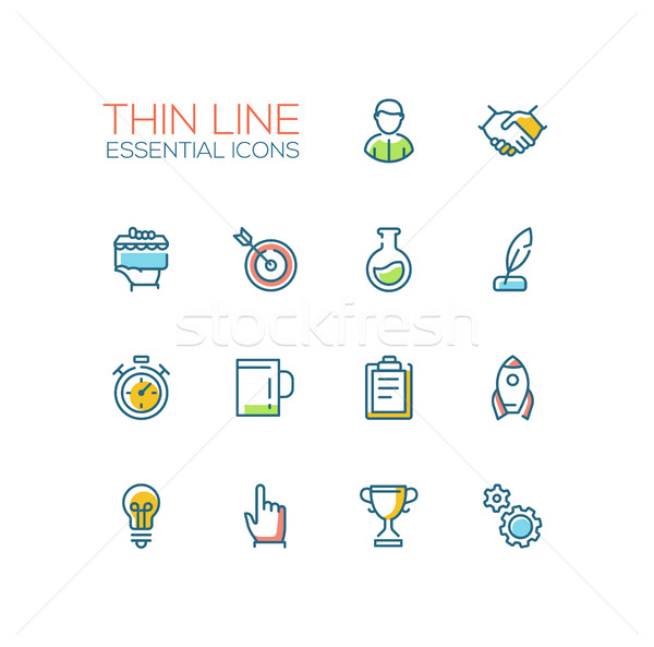 Business, Finance Symbols - thick line design icons set Stock photo © Decorwithme