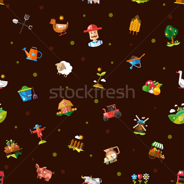 Pattern of modern flat design farm and agriculture icons and ele Stock photo © Decorwithme