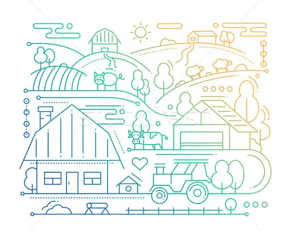 Farm - line design composition - color gradient Stock photo © Decorwithme
