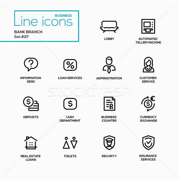 Bank branch - modern vector single line icons set. Stock photo © Decorwithme