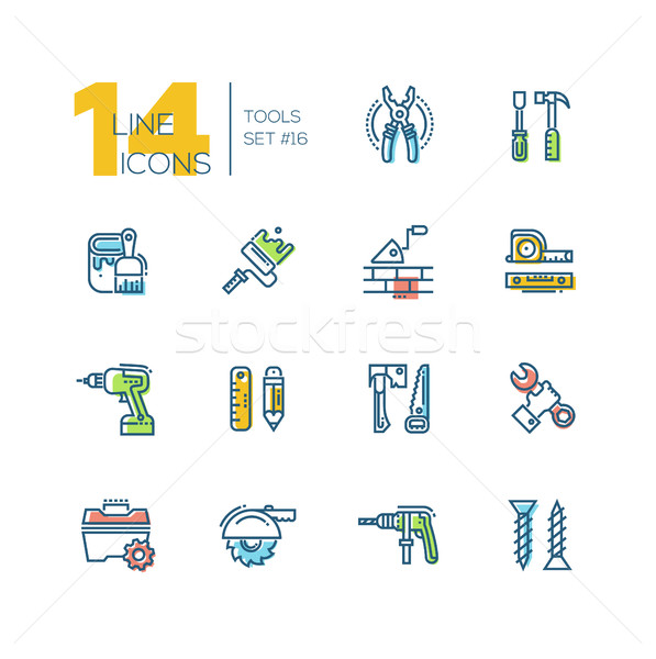 Tools - colored modern single line icons set Stock photo © Decorwithme