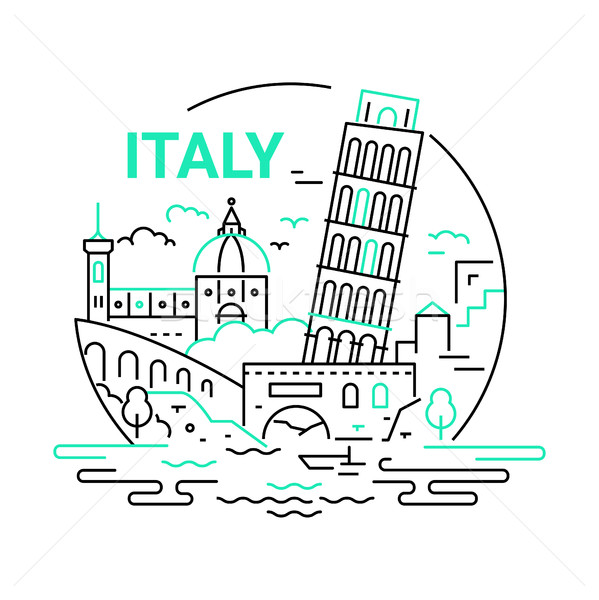 Italy - modern vector line travel illustration Stock photo © Decorwithme