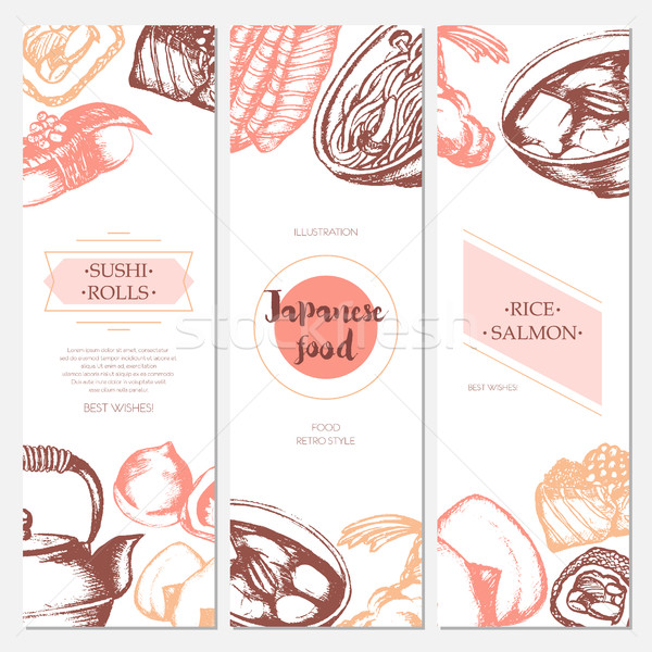 Japanese Food - color hand drawn square template banner. Stock photo © Decorwithme
