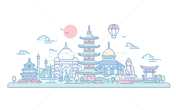 Asian Countries - vector line travel illustration Stock photo © Decorwithme