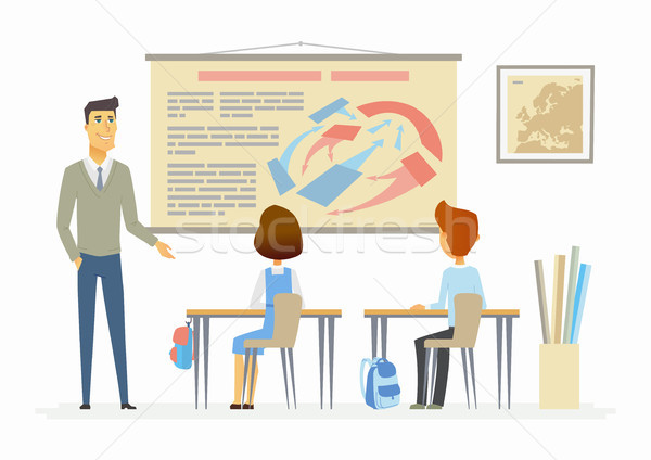 History lesson at school - modern cartoon people characters illustration Stock photo © Decorwithme