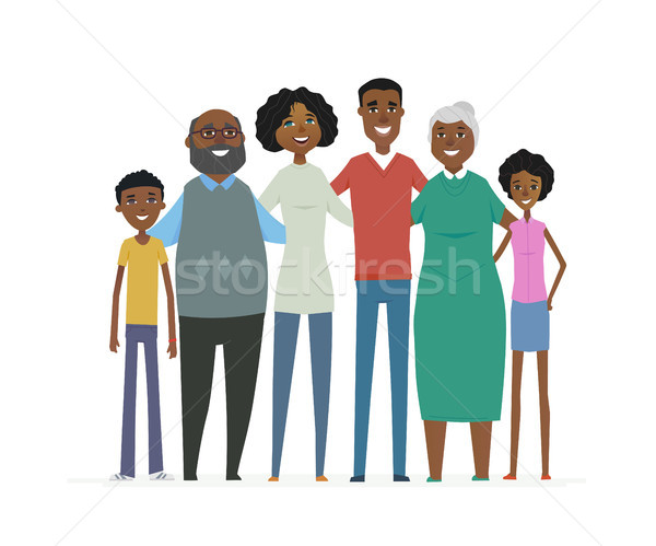 Happy African family - cartoon people characters isolated illustration Stock photo © Decorwithme