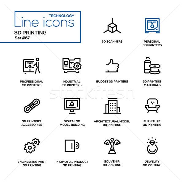 3D printing - line design icons set Stock photo © Decorwithme