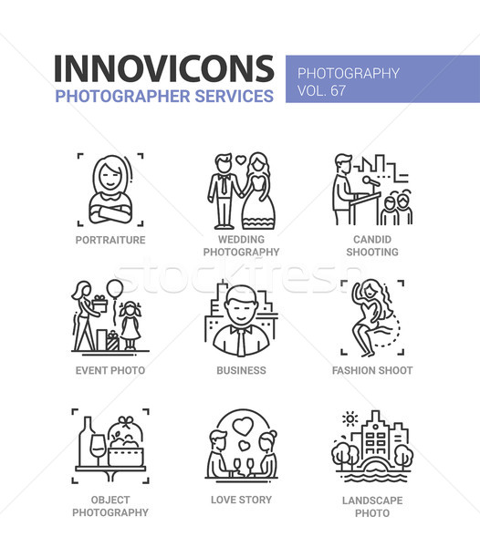 Photographer services - line design icons set Stock photo © Decorwithme