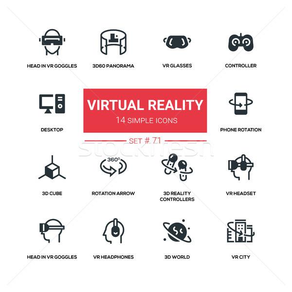 Virtuális valóság vonal terv sziluett ikon szett Stock fotó © Decorwithme