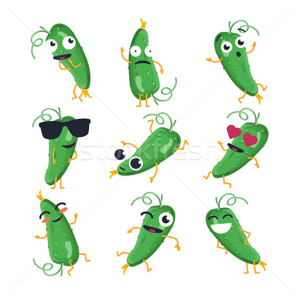Funny cucumber - vector isolated cartoon emoticons Stock photo © Decorwithme